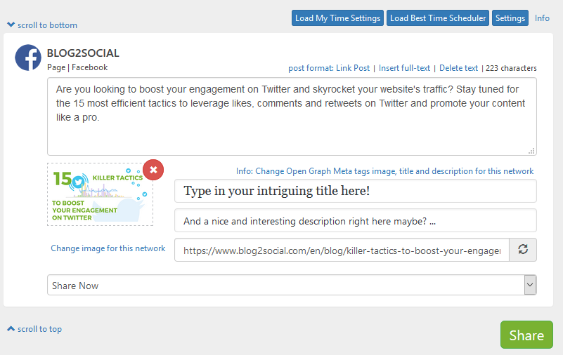 Blog2Social - Schedule post to social media like Facebook, Auto-post