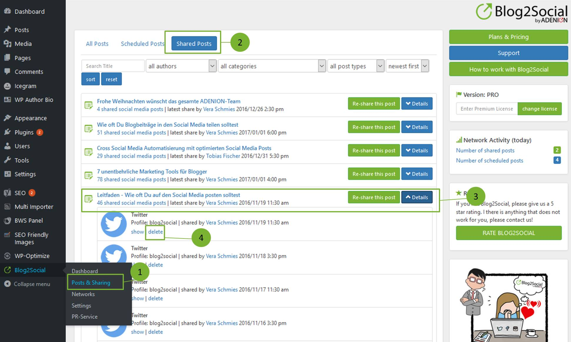 How can I delete already published social media posts in Blog2Social?